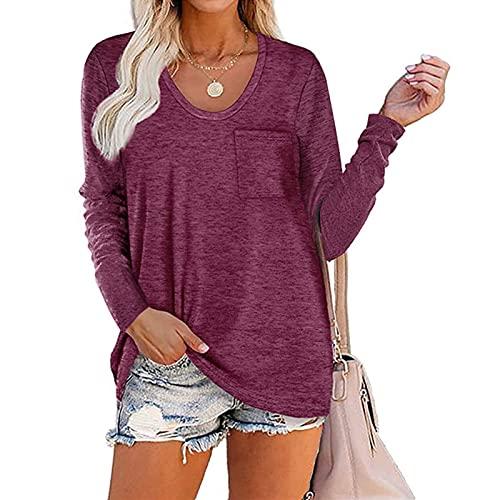 GDYJP Top de Las Mujeres Top Tour Sold Color PINSOR DE Bolsillo Cuello Redondo Camiseta de Manga Larga Sudadera Suelta con Bolsillo (Color : Purple Red, Tamaño : M)
