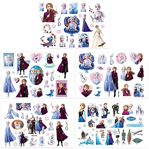 Qemsele Temporäre Tattoo Set Kinder, 200+ Pcs 10 Sheet Tattoos Aufkleber Sticker Wasserdicht Klebe-Tattoos Frozen Superheld Für Geschenktüten Kindergeburtstag Mitgebsel Mädchen Jungen (Frozen)