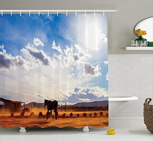 Ambesonne Western Decor Duschvorhang Pferd im Monument Valley Open Sky mit Wolken in Arizona Amerika Landschaft Stoff Bad Decor Set mit Haken 70 Zoll Creme blau
