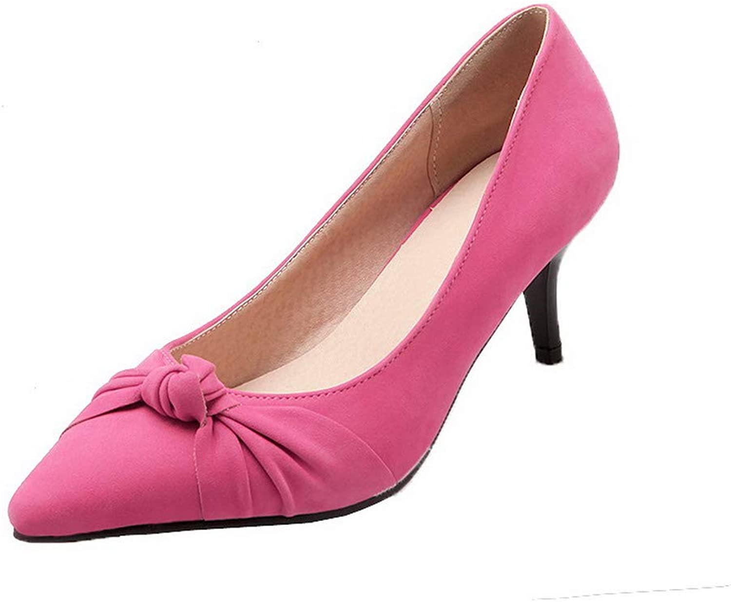 AllhqFashion Women's Closed-Toe Pull-On Frosted Solid Kitten-Heels Pumps-shoes,FBUDC015844