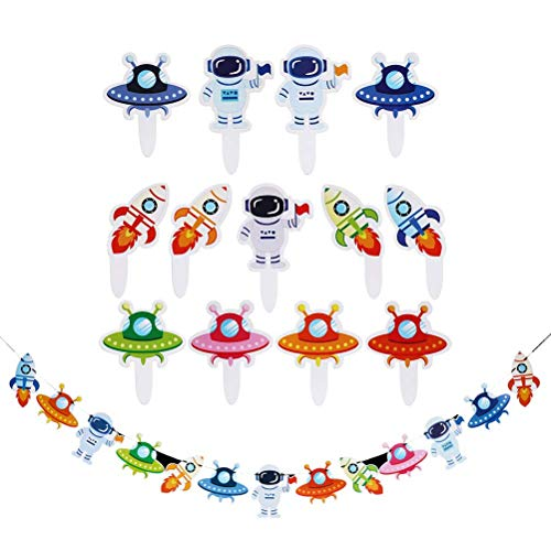 27Pcs Outer Space Astronauts Theme Banner Shiny Shell Hanging Pendant Garland First Birthday Bunting Flag Birthday Party Supplies(1pc Banner + 26Pcs Toppers) for Party Suulies