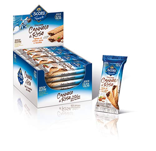 Riso Scotti Snack - Cannolo di Riso e Crema di Nocciole - Snack Dolce Senza Glutine, Senza Olio di Palma - 24 Pezzi