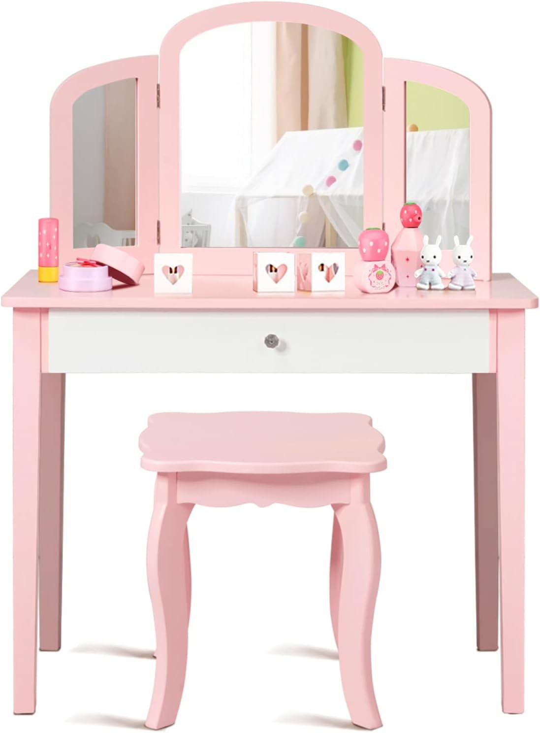 HONEY JOY Kids Vanity Set with Mirror Beauty Max 41% OFF cheap Toddler Makeup Dre