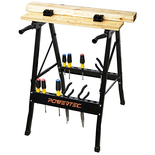 POWERTEC MT4006 Deluxe Bamboo Workbench Top | Portable Project Center and Vise Tool w/4 Bench Dogs