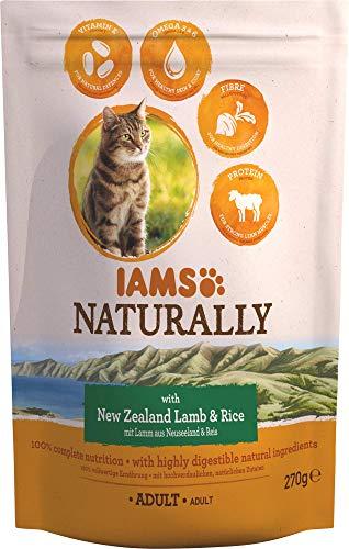 Iams Naturally Katze Lamm (Trockenfutter für erwachsene Katzen mit Lamm aus Neuseeland & Reis), 270 g Beutel, 8er Pack (8 x 270 g)
