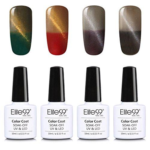 Elite99 Temperature Color Changing Cat Eye Gel Nail Polish UV LED Soak Off 4 Colors Manicure Nail Art Decoration 10ml (001)