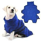 Pssopp Albornoz para Mascotas Albornoz Suave para Perros Toalla para Perros Súper Absorbente Albornoz para Perros Secado lujosamente Toalla para Perros(L)