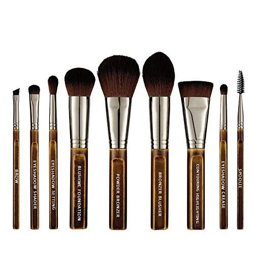 AIZIJI 9 hout make-up borstel set, high-end vintage handgemaakte natuurlijke eucalyptus oogschaduw make-up borstel