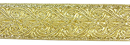 10m Brokat Borte Webband 35mm breit Farbe: Lurex-Gold von 1A-Kurzwaren 35003-go