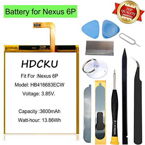 HDCKU Nexus 6P Battery Replacement Kit for Huawei Google Nexus 6P HB416683ECW H1511 H1512 Battery Repair 3600mAh with Tools and Insturctions
