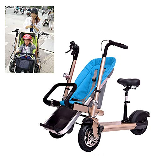 Faltbares Dreirad Für Erwachsene 2-In-1 Doppelkinder-Elektrofahrrad Zweisitzer-Dreirad Abnehmbar Mit Stoßfest Fahrmodus + Kinderwagen-Modus Can Sit-and-Ride Adult Unisex,Blau