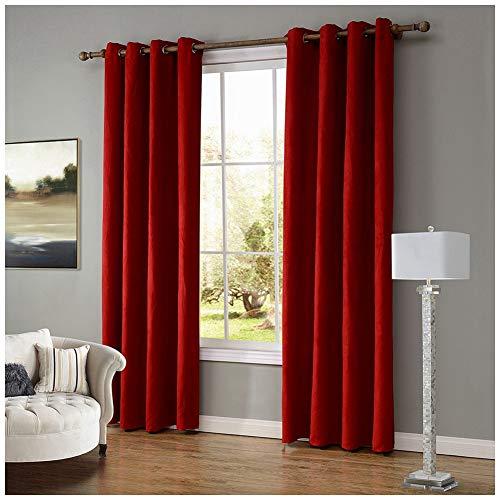 GUOCU Cortinas de Salón Opacas Térmicas Aislantes Dormitorio Decoración Ventanas para Habitacion Rojo 140X160CM (1 Unidad)