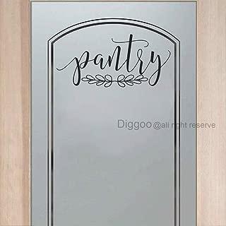 DIGGOO Pantry Door Decal Pantry Wall Decal Glass Door Decal Vinyl Wall Words Vinyl Lettering Kitchen Decor (Black,8.5