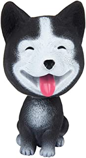 Mary Paxton Bobble Head Dogs,High Simulation Bobbleheads Car Dashboard Puppy Decors Mini Doll Nodding Dog Vehicle Interior Decoration Automobiles Swing Dog Resin Kid Toy Gift (Black Husky)