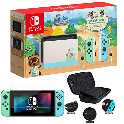 Newest Nintendo Switch with Green and Blue Joy-Con - Animal Crossing: New Horizons Edition - 6.2' Touchscreen Screen - Family Christmas Holiday Bundle - Green and Blue - iPuzzle 12-in-1 Carrying Case