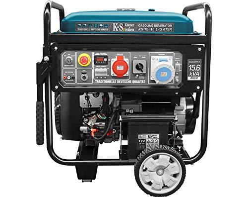 Könner & Söhnen KS 15-1E 1/3 ATSR - Stromerzeuger 22 PS, 4-Takt 2-Zylinder Benzinmotor mit Kupfer, E-Start, Notstromautomatik, Spannungsregler, LED-Anzeige, 12500/11500 Watt