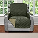 Sofa Shield Original Patent Pending Reversible Chair Protector for Seat Width up to 23 Inch, Furniture Slipcover, 2 Inch Strap, Chairs Slip Cover Throw for Pets, Cats, Armchair, Hunter Green Sage