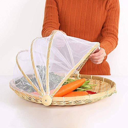 Cestino antipolvere Cestino da picnic con vassoi di bambù cestino da picnic realizzato a mano con garza con copertura in garza di rete per pane di frutta vegetale