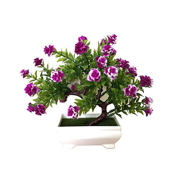 Aland 1Pc Potted Artificial Flower Bonsai Stage Garden Wedding Home Party Decor Props Purple Red