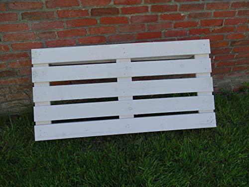 Vinterior Weiße Holzpalette 120x60x12,5cm weiße Holzpalette/Palette Shabby Chic aus Holz - Europalette Einwegpalette Tauschpalette Upcycling Palettentisch 120x60x14cm