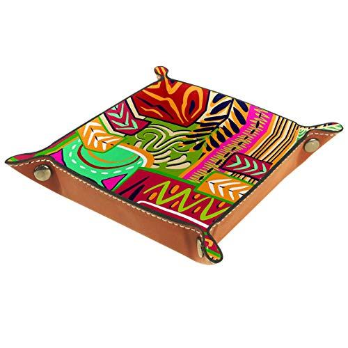 Bandeja de Valet, colección de Cuero de PU, Organizador de bandejas, Caja de Almacenamiento para Relojes Monedas de joyería Cartera de Llaves Pintado a Mano de Colores Patrones de Hop