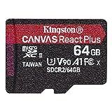 キングストン microSD 64GB 最大285MB/s UHS-II U3 V90 A1 カードリーダー&アダプタ付属 Canvas React Plus MLPMR2/64GB 永久保証