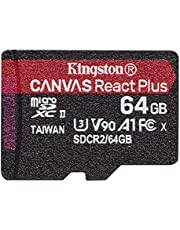 Kingston microSD 64GB UHS-II U3 V90 A1対応 UHS-IIカードリーダーとアダプタ付 Canvas React Plus MLPMR2/64GB 永久保証
