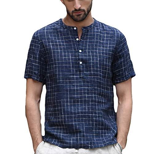 Tops Hombres Vintage Camisetas Retro Empalme Botón Sólido de Lino Manga Corta Blusa