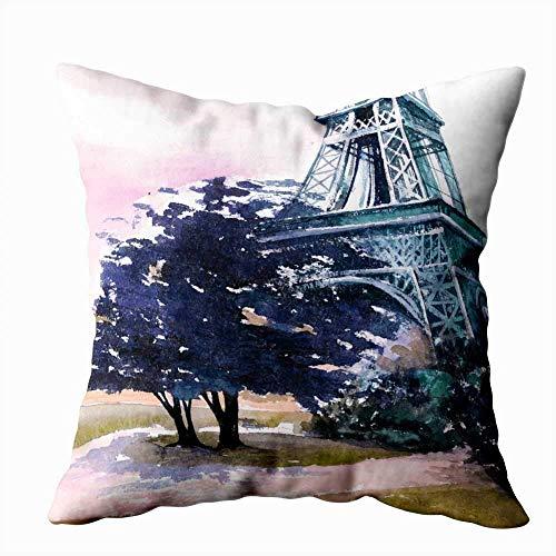 Kussensloop, mooie Parijs, Eiffeltoren, Frans landschap, aquarelschilderij, posters, handwerp.