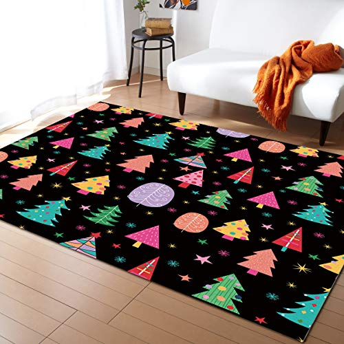 ARTSHOWING Christmas Area Rug, 2'7' x 5' Large Indoor and Outdoor Area Rugs with No-Slip Backing, Easy to Clean, Perfect for Living Room, Patio, Picnic, Decking Rainbow Color Xmas Tree