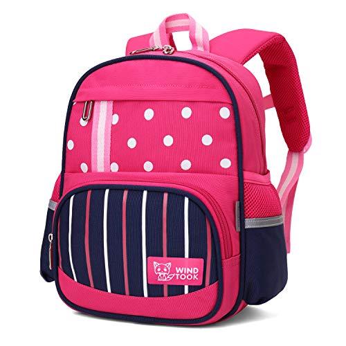 WindTook Kinderrucksack Kinder Schulrucksack Kindergartentasche Mini Backpack Kleiner Tagesrucksack für Mädchen Jungen, 2-3 Jahre alt, Rose