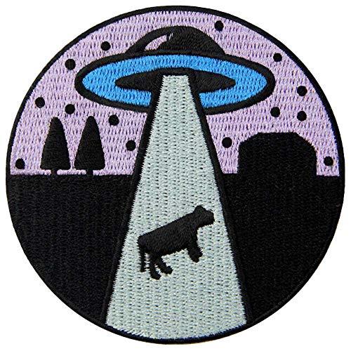 ZEGIN Aufnäher, Bestickt, Design: Reinkommen, Alien-Liebes-Kuh, zum Aufbügeln oder Aufnähen