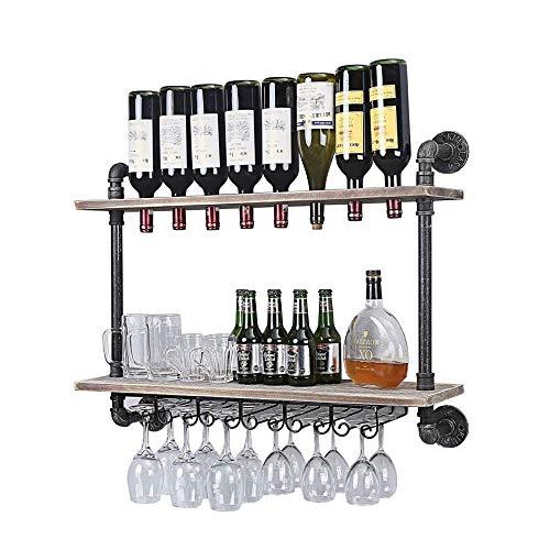 HWG Estante para Botellas Y Vino Estante De Vino De Doble Estante, Estante De Viento Industrial, Puede Colocarlo A Voluntad