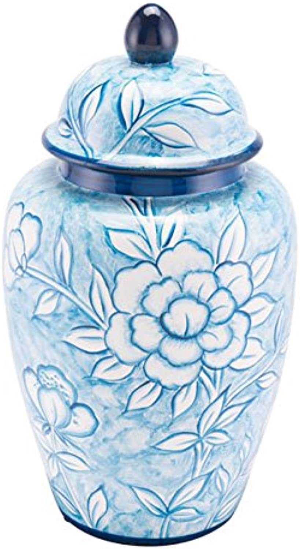 Zuo Flower Temple Jar (Large), White & bluee