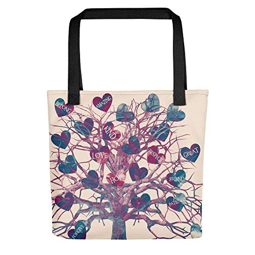 Positive Love Heart Tree with cream pink background Tote bag Size: 15' x 15'