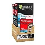 Garnier Skin Active Mascarilla Peel-off con Carbón, para Puntos Negros y Zona T, Elimina Impurezas y Puntos Negros, Desobstruye Poros, Resultados Visibles en 4 Semanas, Pack x 2, 50 ml