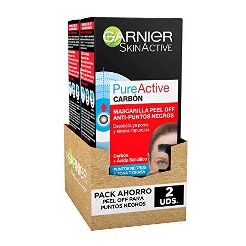 Garnier Skin Active Mascarilla Peel-off con Carbón, para Puntos Negros y Zona...