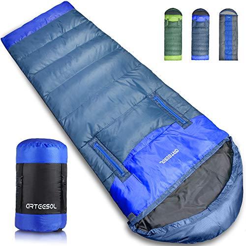 arteesol Schlafsack - 216 * 73cm Mumienschlafsack leicht Schlafsack für Outdoor Camping im Sommer Winter (Navy, -15℃~15℃)