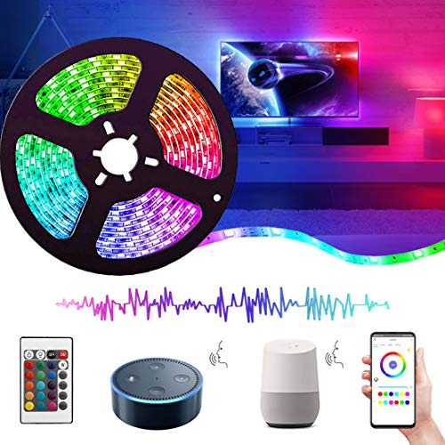 Tira LED Wifi 5 Metros, Luces LED Musica, 5050 RGB, Impermeable IP65, Funciona con Alexa, Google Assistant, Smartphone APP Android iOS, con Control Remoto, Receptor