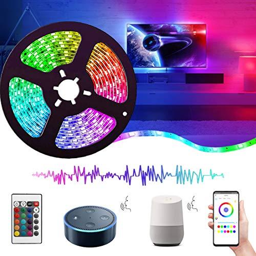 Striscia LED WIFI Alexa 5M con Telecomando, REETWO Strisce LED Musicale, 5050 RGB, Nastri Led Multicolor, Impermeabile IP65, Funzione Timer,Decorazioni per Natale, Feste, Casa, Cusina, TV, Bar