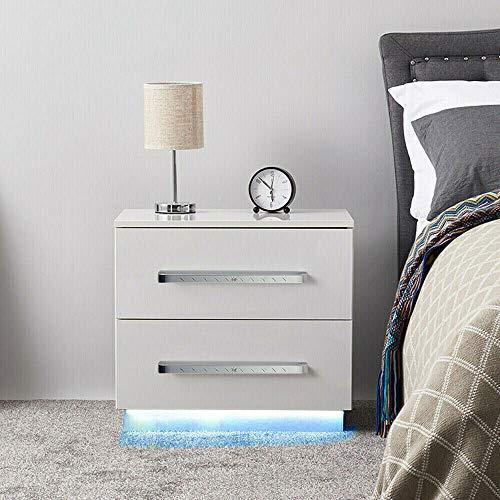 sujrtuj Moderne Hochglanz-LED-Leuchten Nachttisch Nachttisch mit 2 Schubladen Weiß