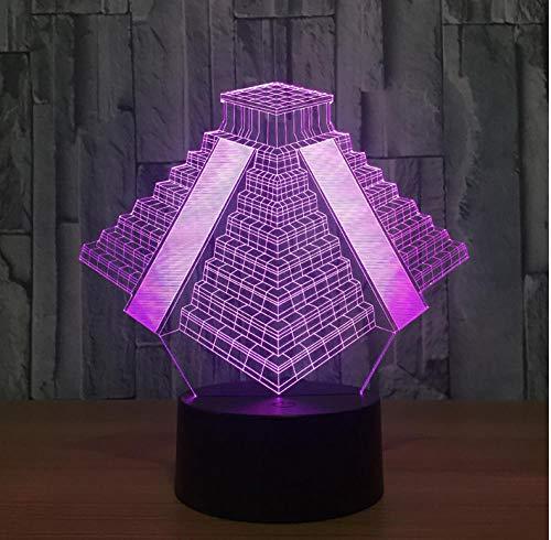 Baby Pyramid in Mexico Light 7 colores Lámpara cambiante