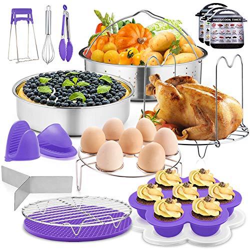 P&P Chef Schnellkochtopf-Zubehör-Set, Violett, 17-teilig, passend für 6/8 Qt Topf – Dampfkorb, Kuchenform, Eierbeißform, Eier-Dampfgarer, Geschirrclip und weitere Küchenutensilien
