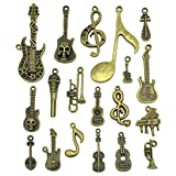 Music Notes Charms, JIALEEY Wholesale Bulk Lots Music Elements Musical Instrument Beads Pendants for Necklace Bracelet Jewelry Making and Crafting(Bronze)