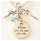 Peter Pan Accessories Silver Tinkerbell-Inspired Charm Keychain Believe You Can and You Will Gift of Fairy Love