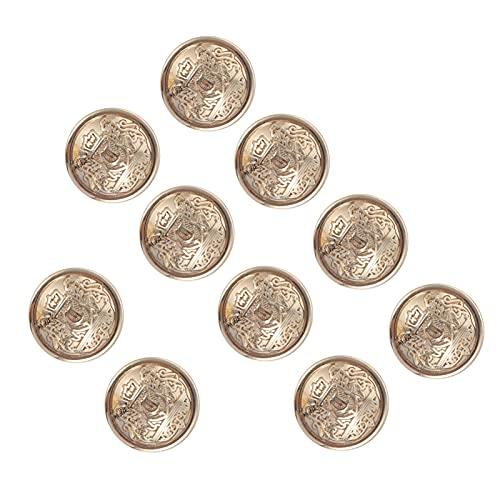 Artibetter 10 Piezas Steampunk Gemelos Botón Metal Coser Botones Sujetador para Camisa de Negocios Vestido de Novia Mujer Abrigo (18MM Dorado)