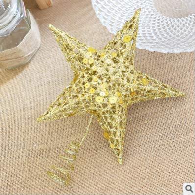 Hmmedsmoothy, Stella a Cinque Punte per Albero di Natale, in Ferro Glitterato, 20 cm, Colore: Oro