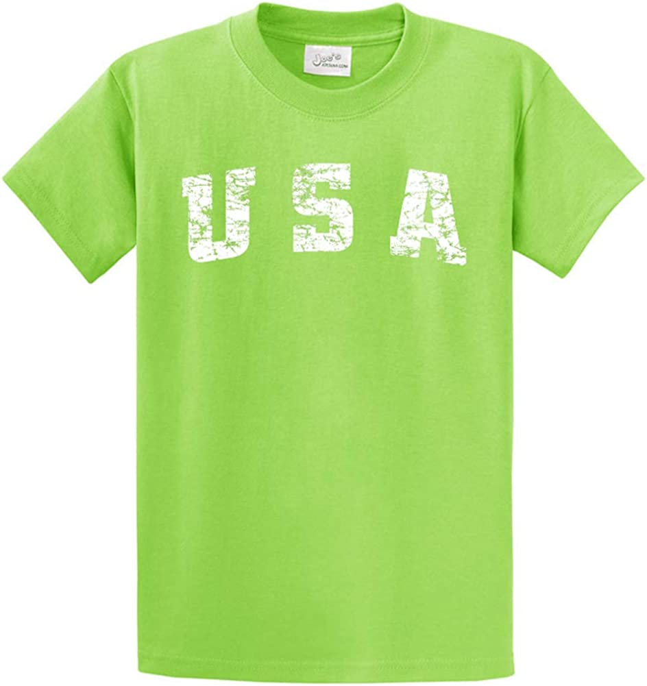 Joe's USA -Tall Vintage USA Logo Tee T-Shirts in Size X-Large Tall -XLT Lime