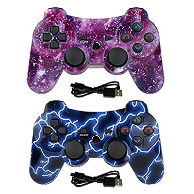 Lioeo PS3 Controller Wireless 2 Pack Gamepad for PS3 Game Controller Remote Control Support PS3 - Deep Blue+Galaxy