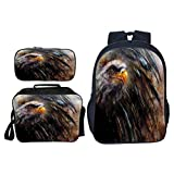 Travel Laptop Backpack, Eagle Angry Bird Black Feathers, Kindergarten Backpack for Kids Elementary School, Set 3 Pieces